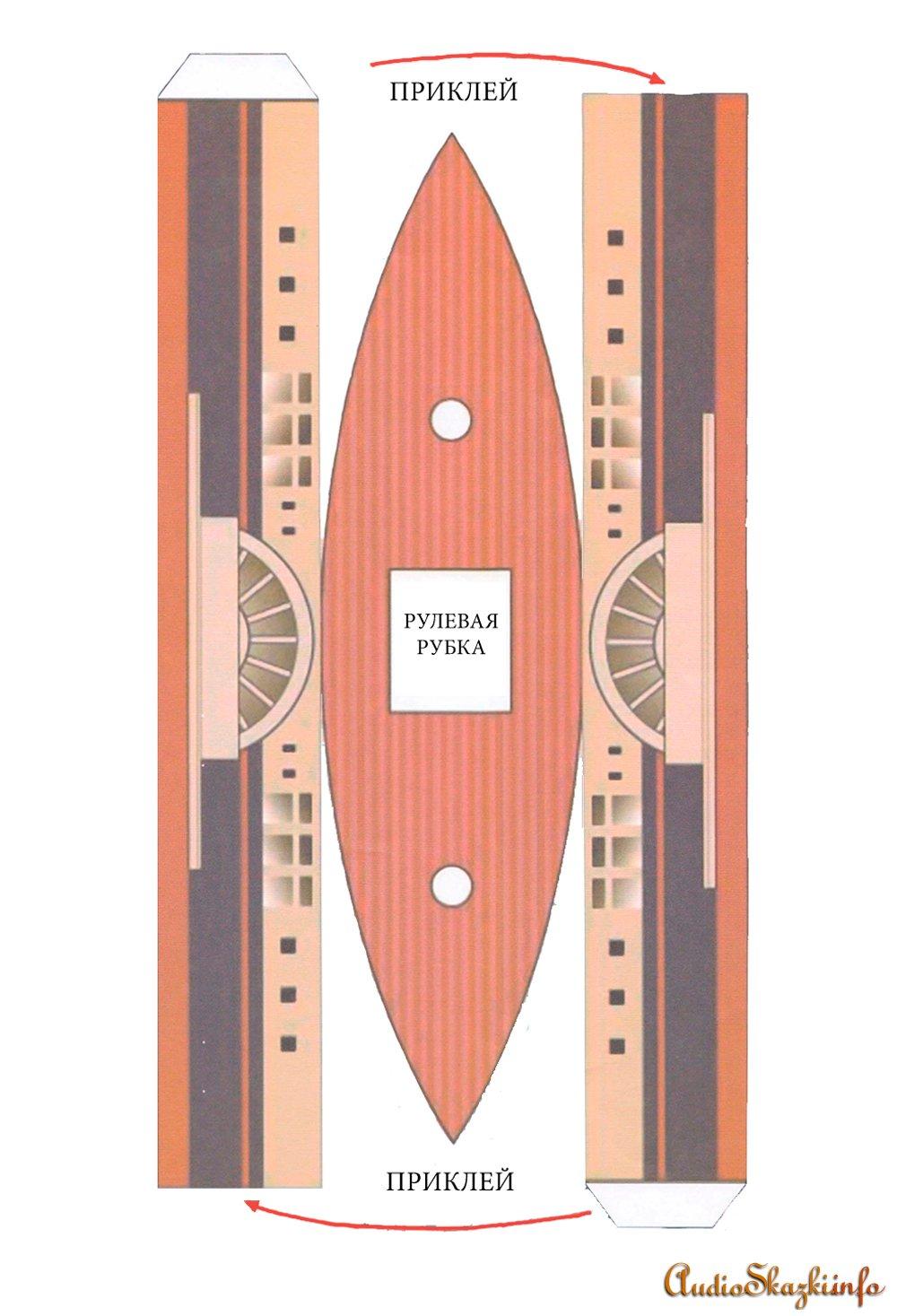 Игрушки из бумаги - Колесный пароход.