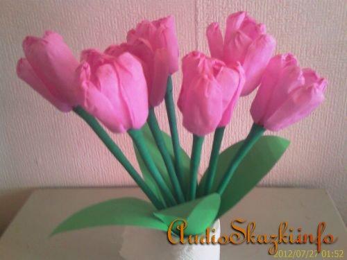 тюльпаны из креповой бумаги