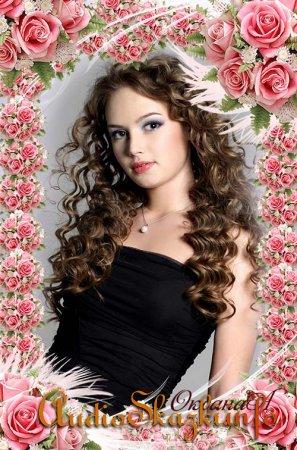 Цветочная рамка  для фото – Розы и пёрышко