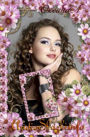 Красивая женская рамка   -  1001 цветок Космеи