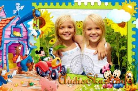 Детская фоторамка - Микки Маус на ферме