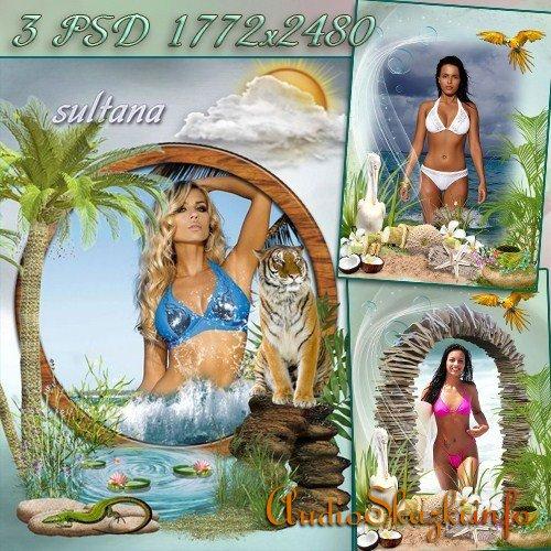 Три летние рамки для фотошопа - На морском берегу