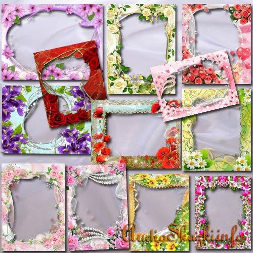 Коллекция цветочных фоторамок для милых дам