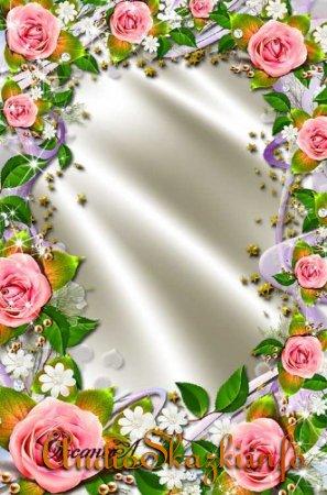 Рамка для фото - Сияние розовых роз