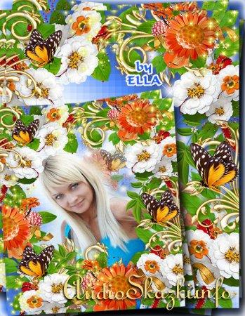 Летняя цветочная фоторамка-Ангельские цветы