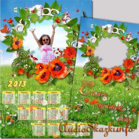 Набор из календаря на 2013 год и рамки для фото – Маково-ромашковое поле