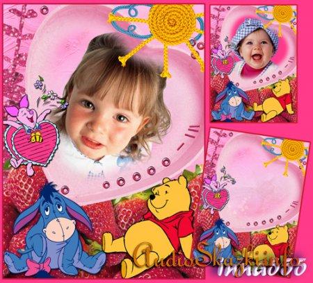 Детская рамка для фото - Винни с клубникой