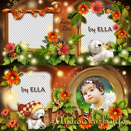 Яркий детский фотоальбом с белыми медвежатами-Лесная сказка