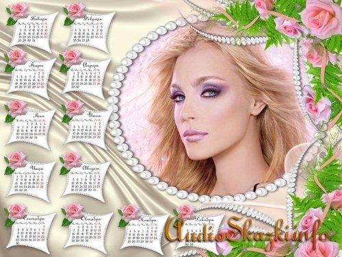 Календарь на 2013 год с жемчугом и розами