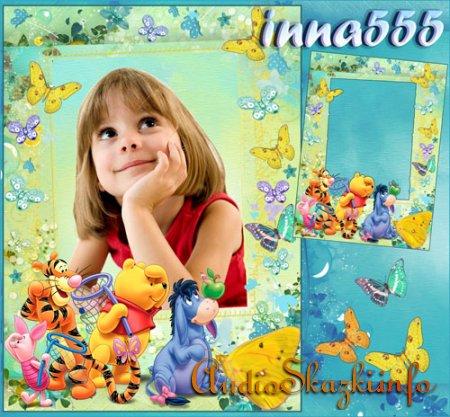Детская рамка для фото с Винни и друзьями - Где же все бабочки?