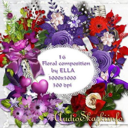 PSD клипарт - Цветочные композиции