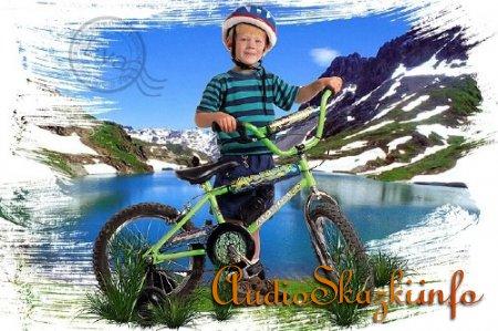 Шаблон для фотошопа - Мальчик с велосипедом