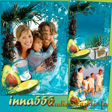 Морская рамочка с пальмой и попугаем - Счастливые мгновения лета