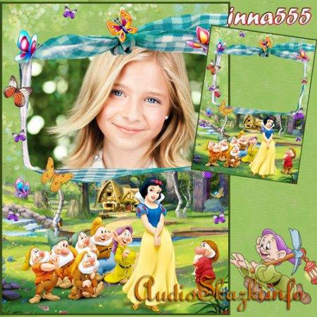 Рамка для девочки с героями мультфильма - Наша любимая белоснежка!