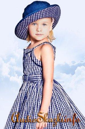 Шаблон для фото - Девочка в синем платье в клетку и шляпке