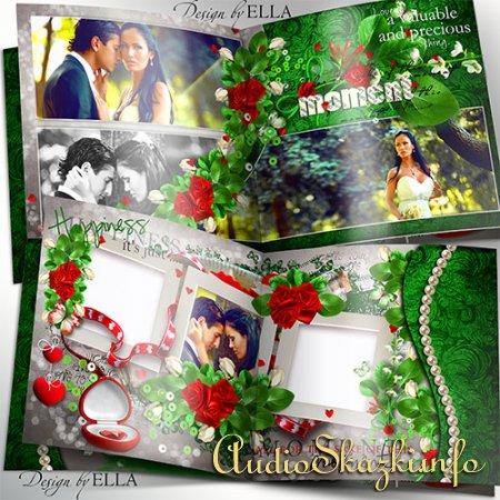 Романтическая фотокнига зелено-красного цвета-Настоящая любовь