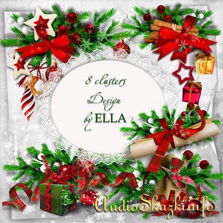 Шаблон новогодней фотокниги и кластеры-Светлый Праздник Рождества Христова