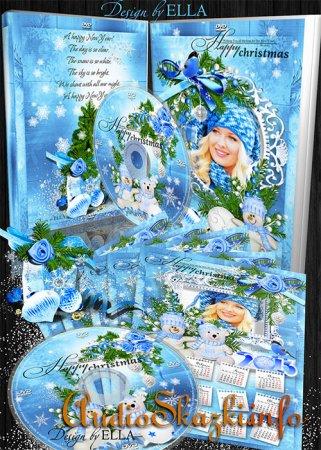 Новогодний набор-календарь,обложка и задувка на DVD диск-Blue Christmas Tale