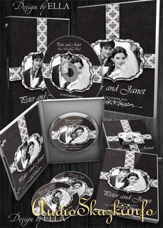 Шаблон классической свадебной фотокниги и DVD набор - Строгая классика