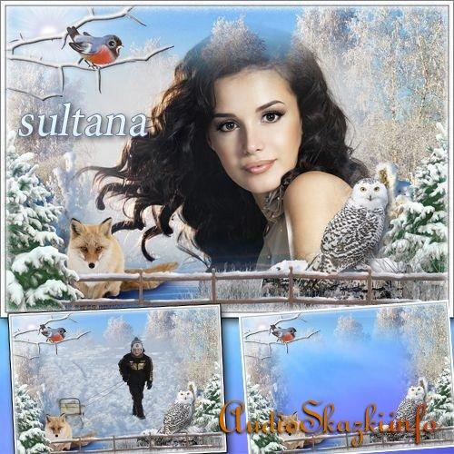 Зимняя рамочка для фото - Заснеженный пейзаж