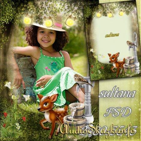 Фоторамка - Маленький олененок в лесу